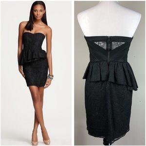 Alice + Olivia Jessie Dotted Strapless Black Dress